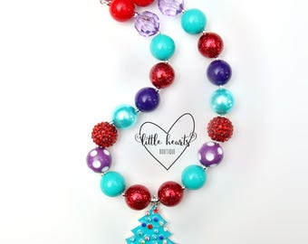 Christmas Tree, Christmas Necklace, Christmas, Christmas Bubblegum Necklace, Chunky Necklace, Bubblegum Necklace