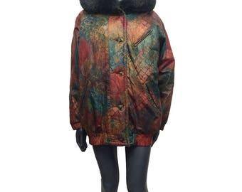 Vintage 90s Oversized Red Green Huge Fur Trimmed Furry Hood Jacket Coat 12 14 16