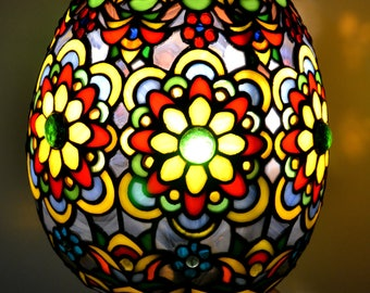 Tiffany Easter egg night light. Stained glass lamp. Desk Table Lamp Light Gorgeous. Collectible tiffany lamp shade. Handmade Lighting