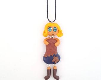 Doll fantasy, polymer clay necklace