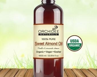1000mL Organic Sweet Almond Oil - Certified Vegan, Certified Kosher
