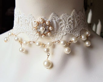 Vintage Wedding Bridal Lace Necklace, Handmade White Faux Pearls Clear Rhinestones Lace Choker, Romantic Lace Pearl Choker, Wedding Jewelry