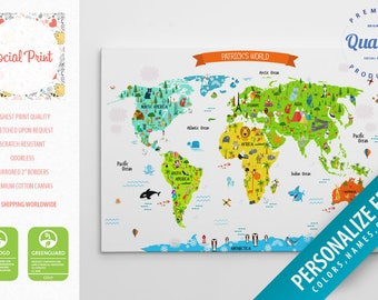 world map for kids etsy. Black Bedroom Furniture Sets. Home Design Ideas