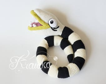 Crochet PATTERN No 1725 Nightmare The Creepy Snake - Halloween crochet pattern by Krawka,