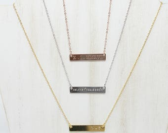 Bar Necklace + Personalized Necklace + Custom Name Necklace + Initial Necklace + Gold Name Bar + Roman Numeral Bar Necklace + Coordinates