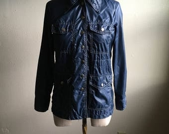 vintage 60s curly top for young america navy blue nylon windbreaker jacket