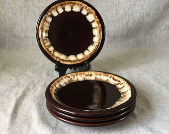 Vintage Pfaltzgraff Gourmet Brown Drip Salad Plates, Set of 4