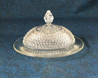 Indiana Diamond Point Oval Covered Butter Dish