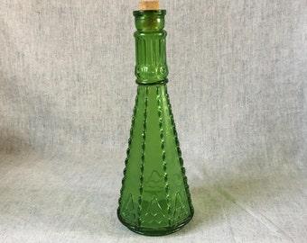 Vintage Emerald Green Glass Morey Bottle, Morey Glass Decanter