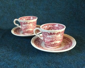 Vintage Mason's Pink Vista Demitasse Cup and Saucer, Set of 2, Red Transferware