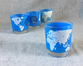Vintage World Map Old Fashioned Glasses, Set of 4