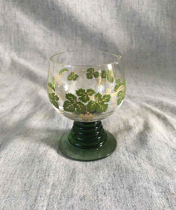 Vintage Roemer Green Grape Pattern Wine Glass