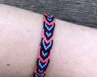 Pink, Black, and Purple Friendship Bracelet