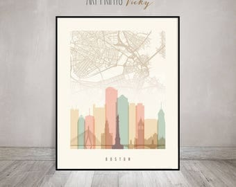 Boston City Map Print Skyline Poster | ArtPrintsVicky.com