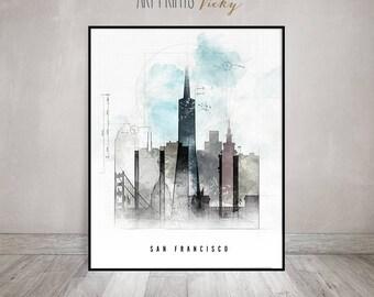 San Francisco Skyline Poster Contemporary Art Print   ArtPrintsVicky.com
