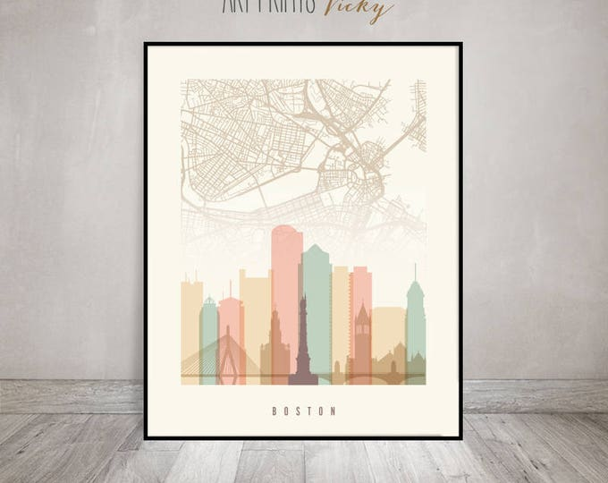 Boston map poster, Wall art, Boston skyline print, Boston map art, Massachusetts, Travel poster, Home Decor, Gift, ArtPrintsVicky
