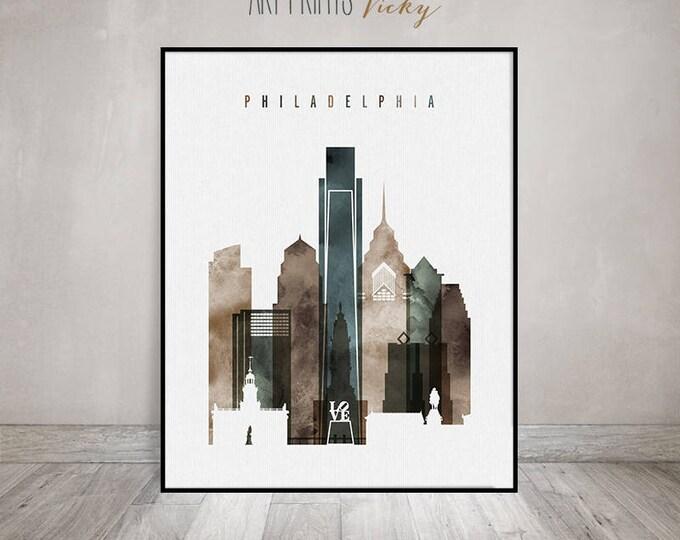 Philadelphia, Wall art, Print, Philadelphia skyline, watercolour poster, Wall art, Pennsylvania, travel gift, home decor, ArtPrintsVicky