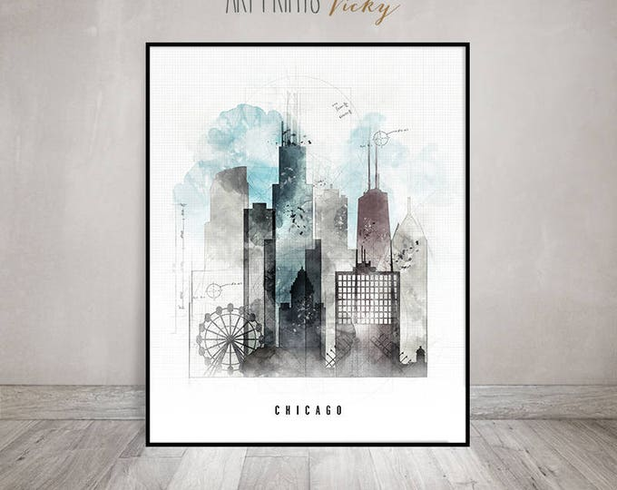 Chicago wall art, Chicago skyline poster, travel print, contemporary art, mixed media, digital hand drawn cityscape by ArtPrintsVicky