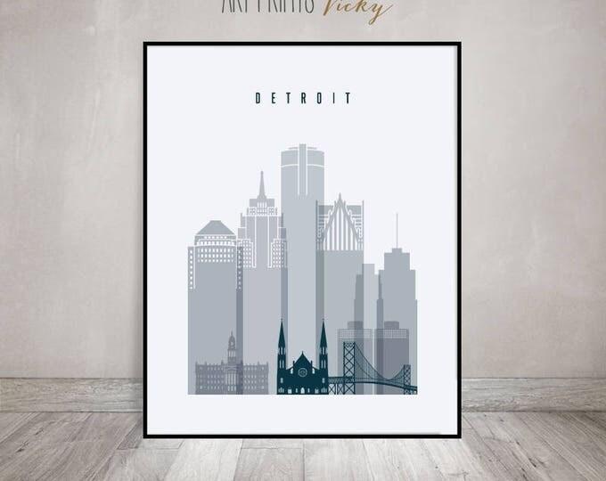 Detroit art print, Poster, Detroit skyline, Travel decor, Wall art, housewarming gift, Michigan cityscape, Home Decor,  ArtPrintsVicky