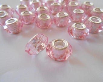 10 Pink European Beads Acrylic and Silver Large Hole Beads Faceted Rondelle For Pandora or Baigi Style Bracelets Jewelry Supplies 14 x 8 mm