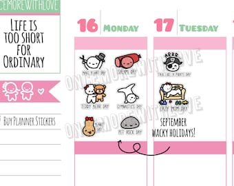 Wacky Holidays - September 2017 Planner Stickers (W09)