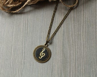 Music gift Music necklace Gift for musician necklace Music note necklace Music lover necklace Treble clef necklace Treble clef pendant