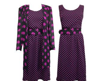 Vintage 1980s Polkadot Purple Three Piece Set With Spotty Shift Dress, Jacket/Coat and Belt Set SZ UK 12