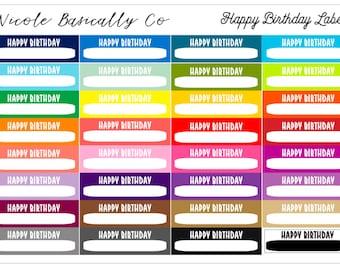 Rainbow Happy Birthday Labels Planner Stickers