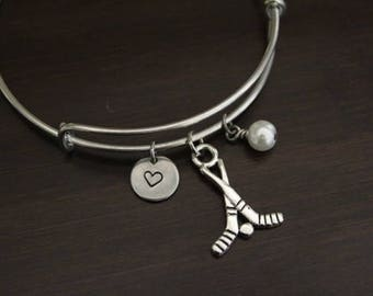 Hockey Bangle - Field Hockey - Sports Bangle - Athlete Bangle - Sports Player - Athlete Gift - Bracelet - I/H&B