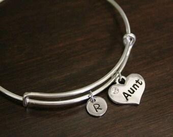 Aunt Bangle -Aunt Bracelet - Aunt Gift - Aunt Heart Jewelry - Initial