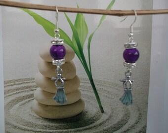 F28 silver dress purple bead earrings