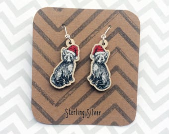 Fox Christmas Earrings, unique wooden charm earrings with Sterling Silver hooks. Ideal present for women or secret santa gift exchange UK
