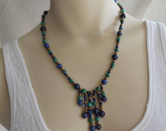 Lapis Lazuli, Malachite Stone and Copper tone Beads Fringe Necklace