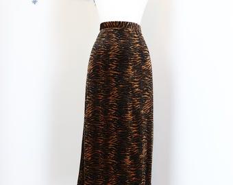 "1980s Skirt - Animal Print Midi Maxi Skirt - Velour - Fall Winter Vintage Skirt - Size Medium 29"" Waist - Comfy Cozy"