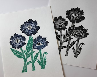 Poppy Block Print. Hand Stamped Print. Botanical Print. Psychedelic Art