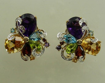 Multi-Color 10.13ct Gemstone Earrings, 14K Yellow Gold and Diamonds 0.10ct