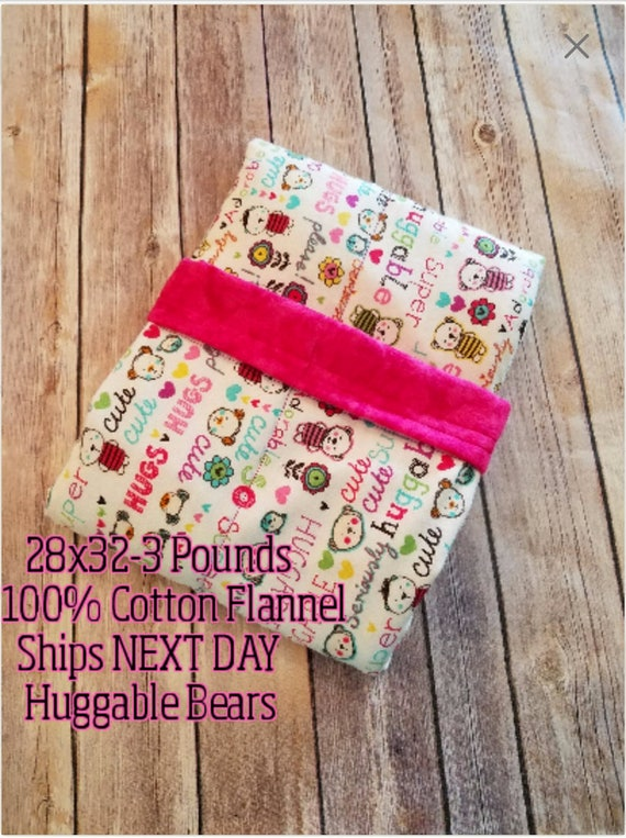 Huggable, Positive Sayings, 3 Pound, WEIGHTED BLANKET, Ready To Ship 3 pounds. 28x32 for Autism, Sensory, ADHD, Calming, Anxiety,