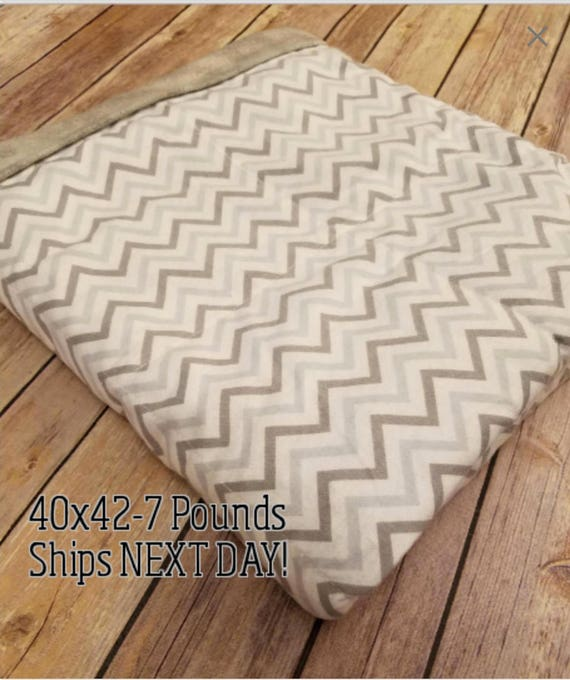 Gray Chevron, 7 Pound, WEIGHTED BLANKET, Ready To Ship, 7 Pounds, 40x42 for Autism, Sensory, ADHD, Calming