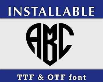 Heart Monogram Font TTF, INSTALABLE ttf Font, Cricut TTF font, True Type Font, ttf monogram fonts, otf font, Silhouette font ttf
