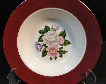 """Homer Laughlin Cavalier Margaret Rose Maroon Soup Bowl 8 3/8"""" EXCELLENT!"""