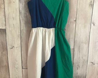 L XL 70's mod sundress green and blue color block