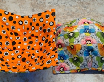 Dorm room essential, microwave bowl holds, set of 2,orange, black, white,multicolored, flowers, washable, great for seniors or newlyweds