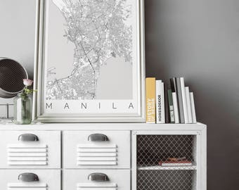 Map of Manila - Fits IKEA frame - Home Decor - Metro Manila, Philippines - Wanderlust - Travel Map - Housewarming Gift - Long Distance Love