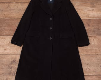 Womens Vintage Burberry Black Overcoat Trench Coat Large 12-14 R6927
