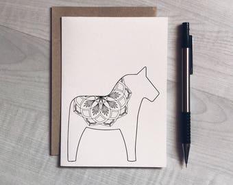Dala horse card, Swedish design, christmas card, greeting card, birthday, modern, minimalist style, unisex, card for him, card for her