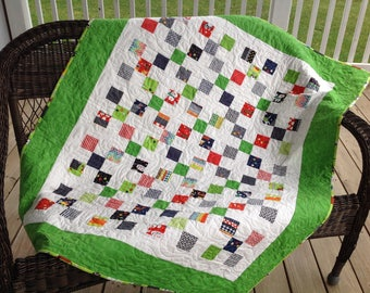 Green doggie print nine-patch with cornerstones baby/toddler quilt