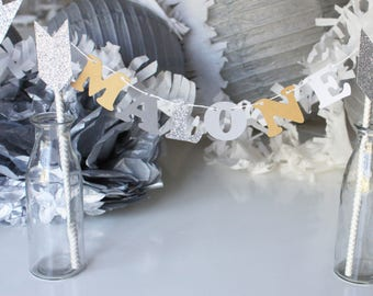Decoration-Garland-name for cake - Indian-glitter silver arrow theme