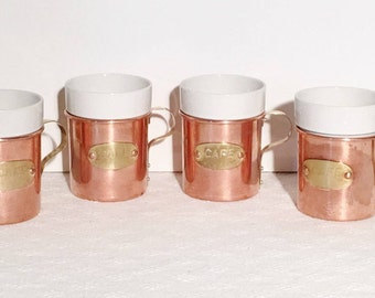Four Vintage Copper De La Cuisine Cafe Cup Holders with Ceramic Cup Inserts