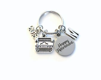 Retirement Gift for Her, Secretary Keychain, 2018 Assistant Key chain with letter Initial Retire Author Writer present men women woman 2019