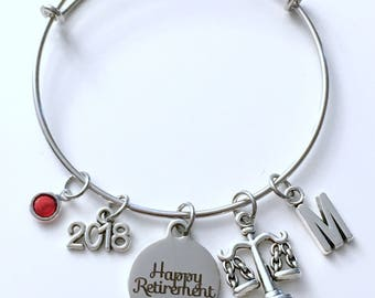Retirement Gift for Law Secretary, Lawyer Legal Charm Bracelet Jewelry Silver Bangle Coworker letter initial birthstone Retire Present Boss